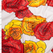 Red and Yellow Pop Art Roses on Offwhite Silver Dusted ITY Fabric By The Yard