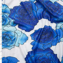 Royal and Light Blue Pop Art Roses on Offwhite Silver Dusted ITY Fabric By The Yard