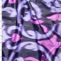 Metallic Silver Dusted Lilac Ikat Crinkle Knit Fabric By The Yard