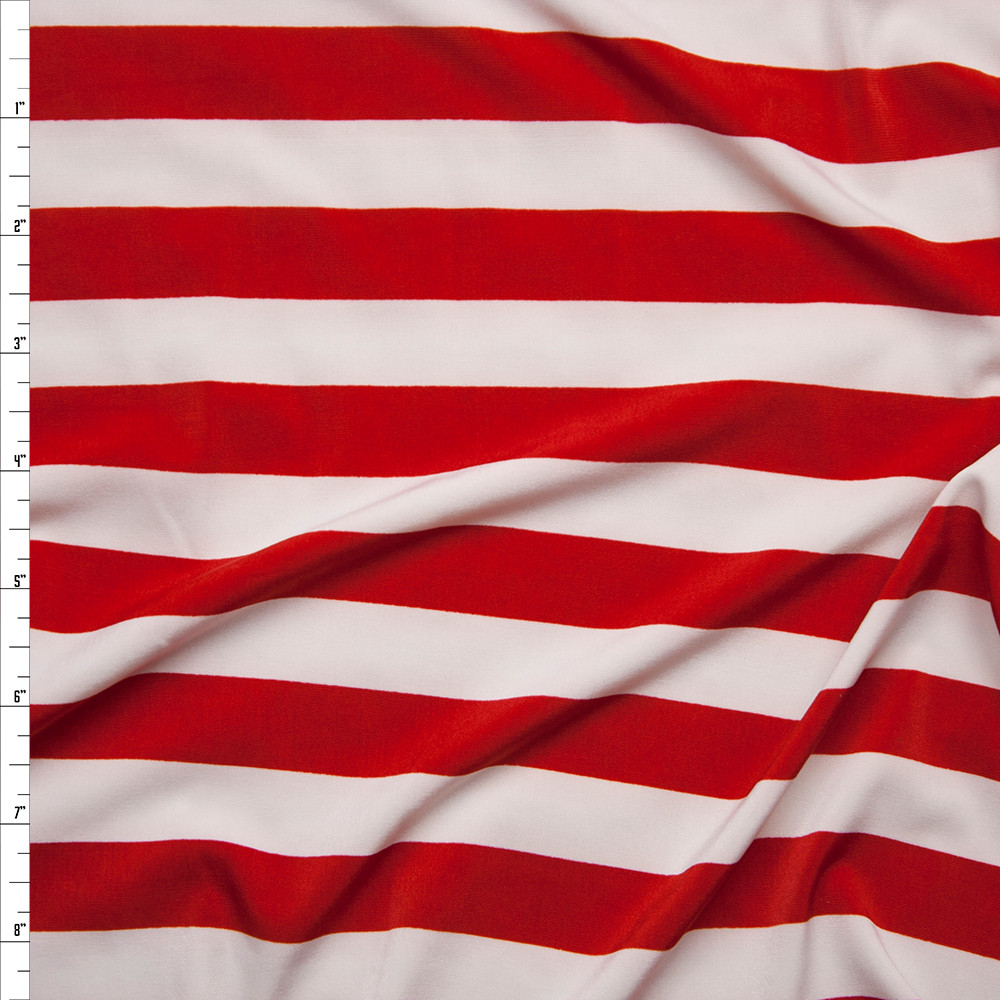 Red and White Striped Stretch ITY Fabric By The Yard