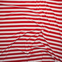 Red and White Striped Stretch ITY Fabric By The Yard - Wide shot