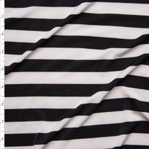 Black and White Striped Stretch ITY Fabric By The Yard