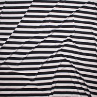 Black and White Striped Stretch ITY Fabric By The Yard - Wide shot