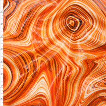 Fire Orange Paint Swirl Dot Glossed Poly Knit Fabric By The Yard
