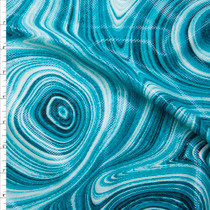 Turquoise Paint Swirl Dot Glossed Poly Knit Fabric By The Yard
