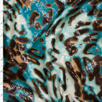 Brown, Tan, and Teal Leopard Print Poly Knit with Gloss Overlay Fabric By The Yard