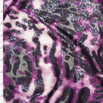 Purple and Grey Leopard Print Poly Knit with Gloss Overlay Fabric By The Yard