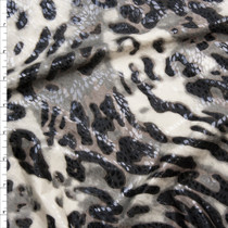 Grey and Black Leopard Print Poly Knit with Gloss Overlay Fabric By The Yard