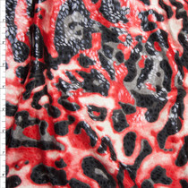 Red, Grey, and Vlack Leopard Print Poly Knit with Gloss Overlay Fabric By The Yard