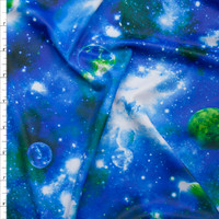 Green and Blue Galaxy Print 5.8oz Nylon/Lycra Fabric By The Yard