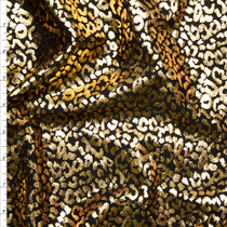 Metallic Gold Cheetah Print on Black Midweight Ponte De Roma Fabric By The Yard