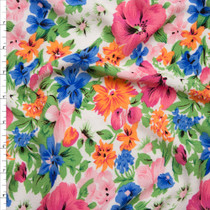 Pink and Green Spring Floral on White Rayon Gauze Fabric By The Yard