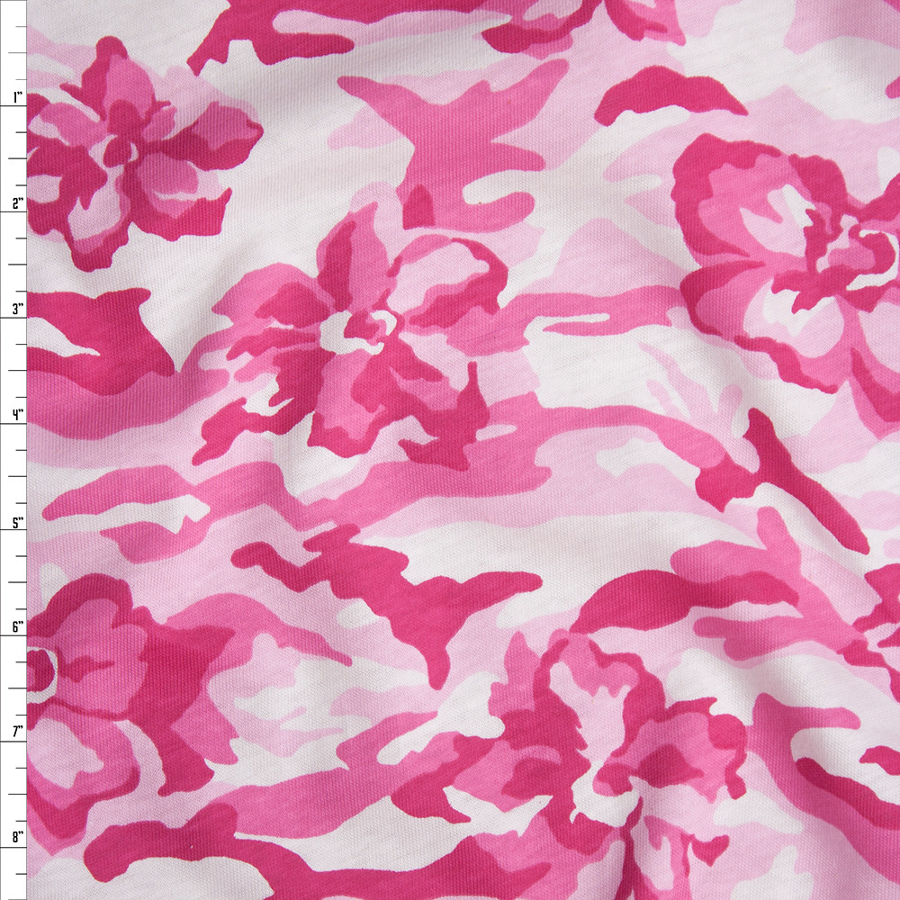 Pink Camouflage With Flowers Midweight Cotton Jersey Knit Fabric By The Yard
