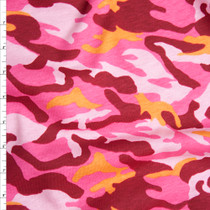 Pink and Orange Camouflage Midweight Cotton Jersey Knit Fabric By The Yard