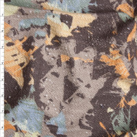 Tan, Orange, and Blue Grunge Island Abstract Slubbed French Terry from 'Sol Angeles' Fabric By The Yard