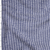 Blue and White Striped Textured Heavyweight Designer Knit from 'Sol Angeles' Fabric By The Yard