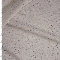 Ivory with Black Speckles Midweight Cotton French Terry Fabric By The Yard
