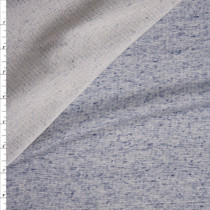 Light Grey and Blue Heather Midweight Cotton French Terry Fabric By The Yard