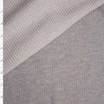 Designer Grey Lined Stretch Waffle Back Knit Fabric By The Yard