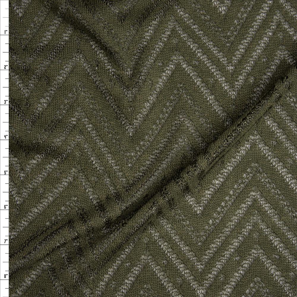 Olive Green Burnout Chevron Pattern Soft Rayon Sweater Knit Fabric By The Yard