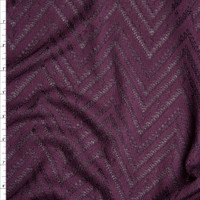 Plum Burnout Chevron Pattern Soft Rayon Sweater Knit Fabric By The Yard