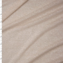 Designer Lightweight Slub Textured Light Tan Jersey Knit Fabric By The Yard