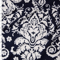 White on Navy Blue Damask Double Brushed Poly Spandex Knit Fabric By The Yard