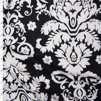 White on Black Double Brushed Poly Spandex Knit Fabric By The Yard