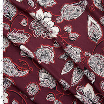 Black and Offwhite Ornate Floral on Wine Double Brushed Poly Spandex Knit Fabric By The Yard