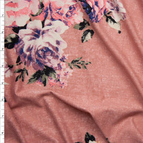 Grunge Pink and Lavender Floral on Dusty Coral Double Brushed Poly Spandex Knit Fabric By The Yard