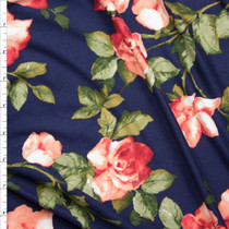 Red orange and Green Rose Floral on Navy Blue Double Brushed Poly Spandex Knit Fabric By The Yard