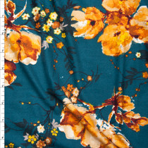 Orange Watercolor Floral on Teal Double Brushed Poly Spandex Knit Fabric By The Yard