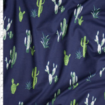 Green Cactus on Navy Blue Double Brushed Poly Spandex Knit Fabric By The Yard