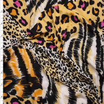 Black, Yellow, and Hot Pink Mixed Animal Print Double Brushed Poly Spandex Knit Fabric By The Yard