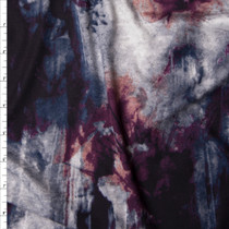 Grey, Black, and Wine Grunge Print Double Brushed Poly Spandex Knit Fabric By The Yard