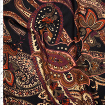 Rust, Tan, and Wine Paisley Pattern on Black Double Brushed Poly Spandex Knit Fabric By The Yard