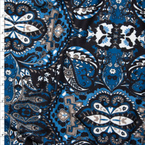 Blue, Grey, Black, and White Paisley Print Double Brushed Poly Spandex Knit Fabric By The Yard