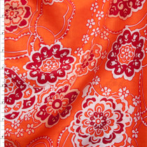 White, Burgundy, and Peach Ornate Floral on Bright Orange Cotton Lawn Print Fabric By The Yard
