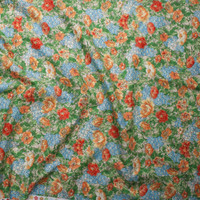 Orange, Red, Light Blue, and Green Garden Floral 'London Calling' Cotton Lawn by Robert Kaufman  Fabric By The Yard - Wide shot