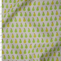 Green and Yellow Pears on White 'London Calling' Cotton Lawn by Robert Kaufman Fabric By The Yard