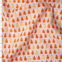 Orange and Yellow Pears on White 'London Calling' Cotton Lawn by Robert Kaufman Fabric By The Yard