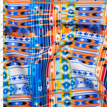 Vibrant Blue, Yellow, and Orange Southwestern Style Rayon Challis Print Fabric By The Yard