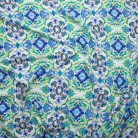 Vibrant Blue, Green and Yellow Scrollwork Rayon Challis Print Fabric By The Yard - Wide shot