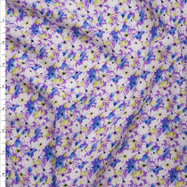 White, Light Blue, and Yellow Mini Daisy Floral on Lavender Rayon Challis Fabric By The Yard