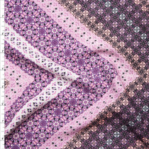 Purple and Lavender Ornate Chevron Print Rayon Challis Fabric By The Yard