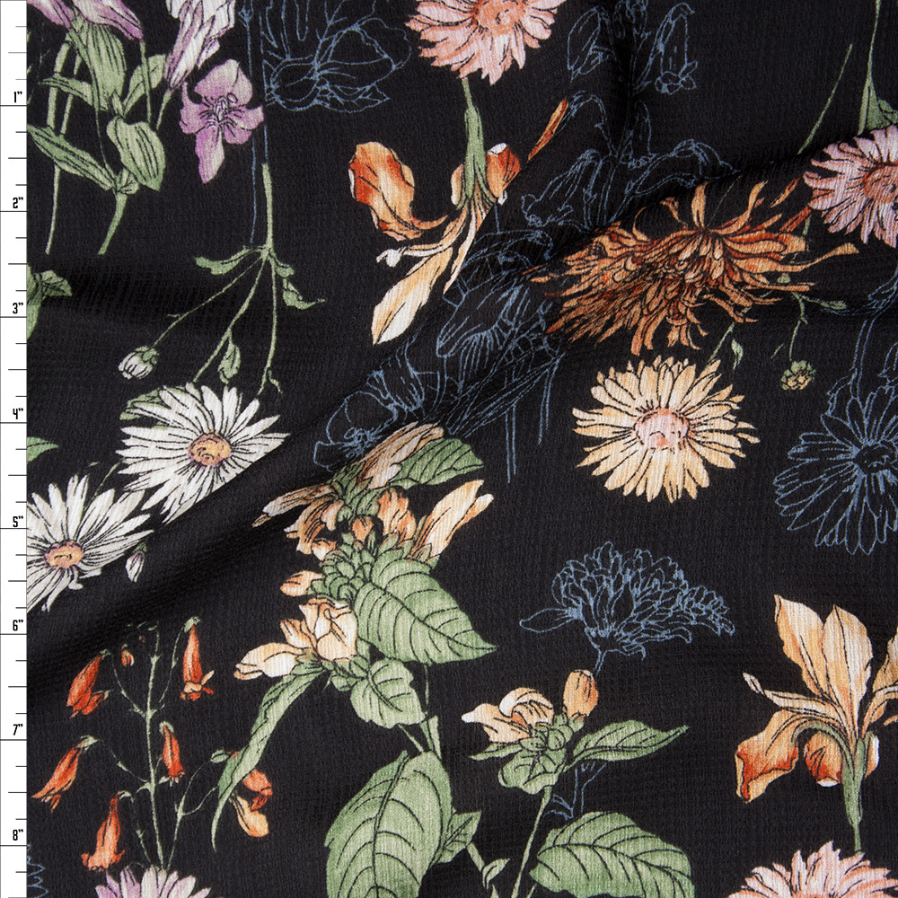 Sketchbook Wildflowers on Black Rayon Gauze Fabric By The Yard