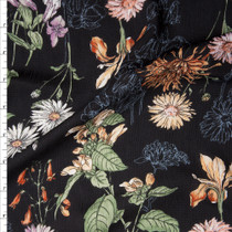 Sketchbook Wildflowers on Black Rayon Gauze Fabric By The Yard