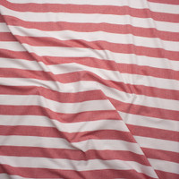 Red and White Striped Fine Chambray Fabric By The Yard - Wide shot