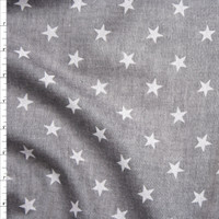 White Stars on Grey Midweight Chambray Fabric By The Yard