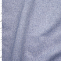 Classic Blue Cotton Chambray Fabric By The Yard